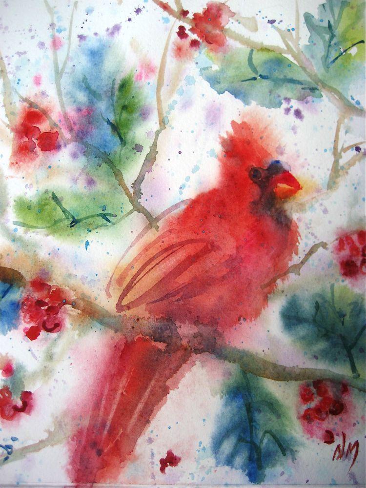 """cardinal"" original fine art by Nora MacPhail"
