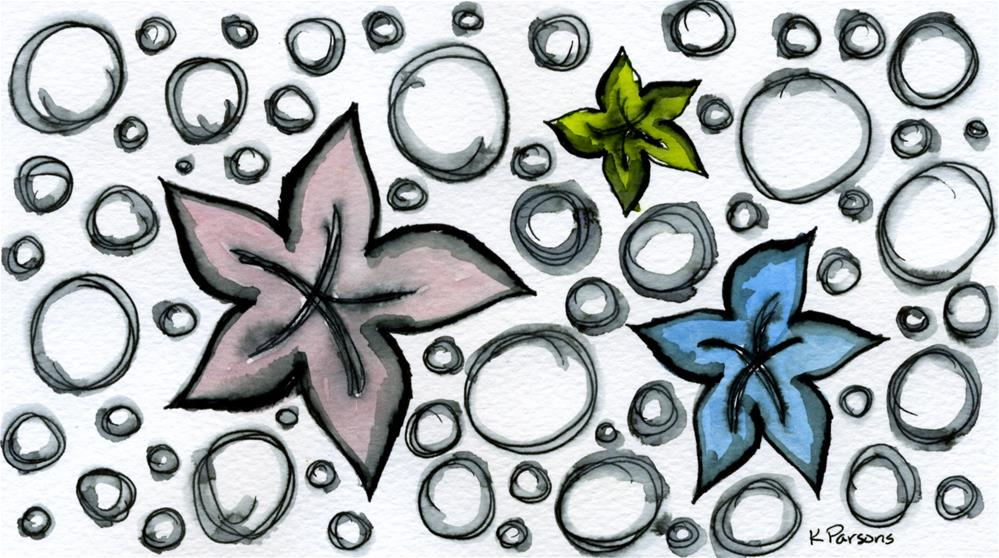 """Starfish and Bubbles"" original fine art by Kali Parsons"