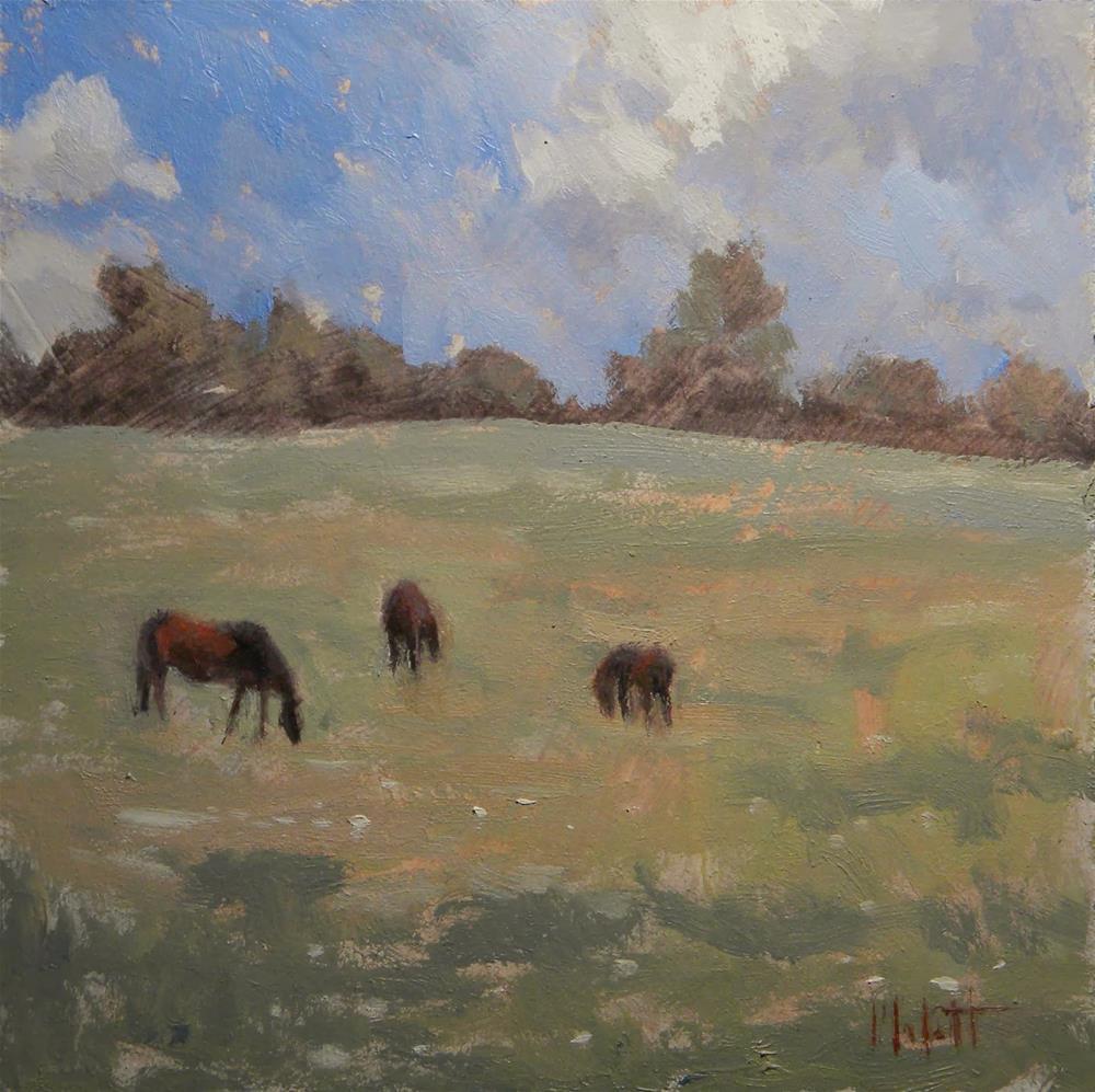 """""""Horses Autumn Field Impressionism Daily Painting Heidi Malott"""" original fine art by Heidi Malott"""