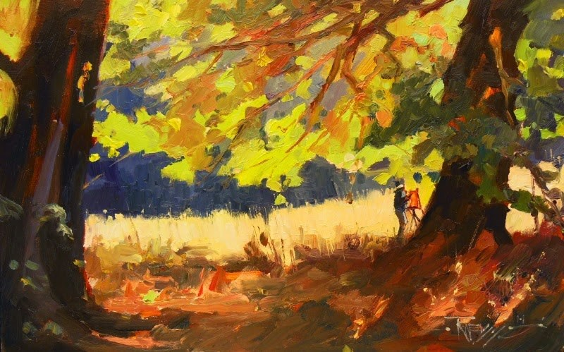 """Light Through the Leaves  Plein air landscape painting by Robin Weiss"" original fine art by Robin Weiss"