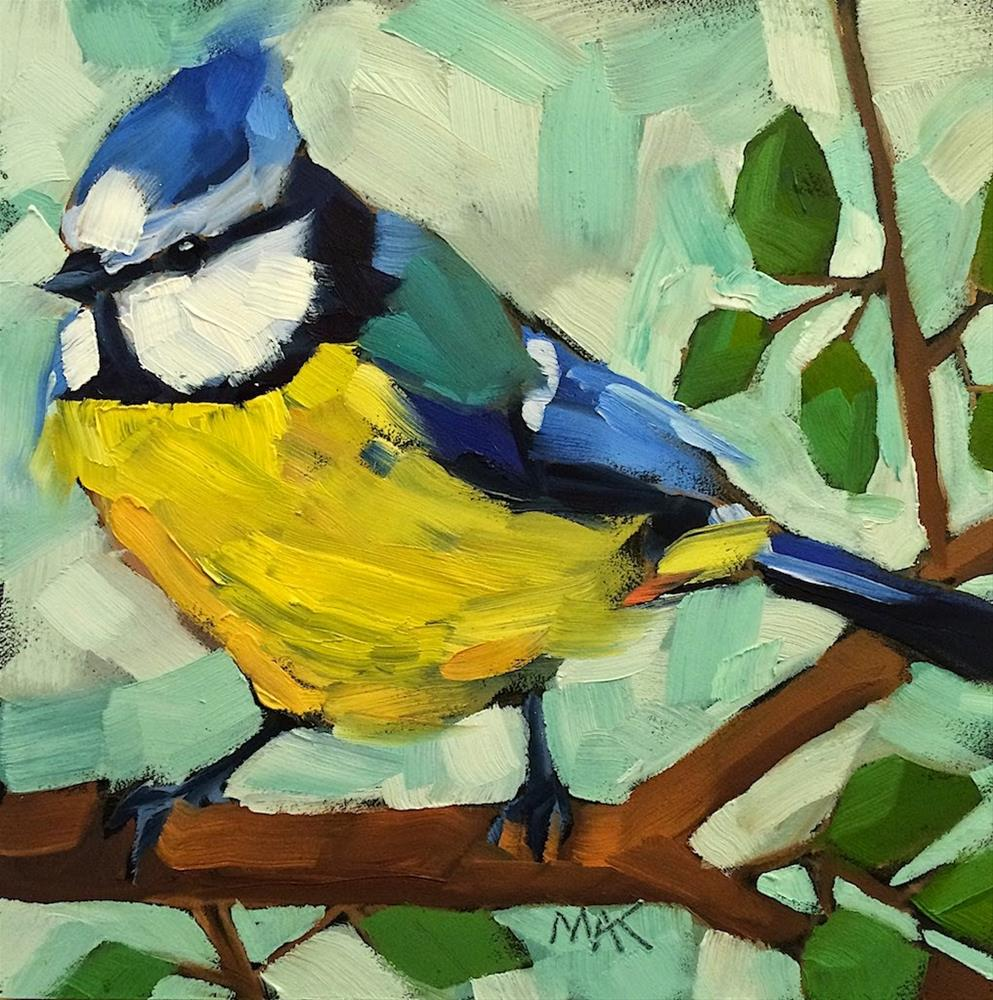 """Blue Titmouse"" original fine art by Mary Anne Cary"