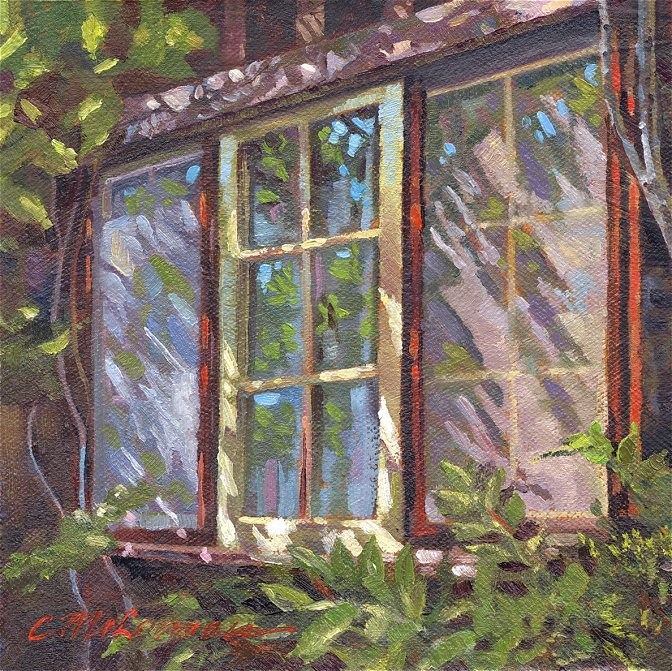 """Woodsy Window"" original fine art by Connie McLennan"