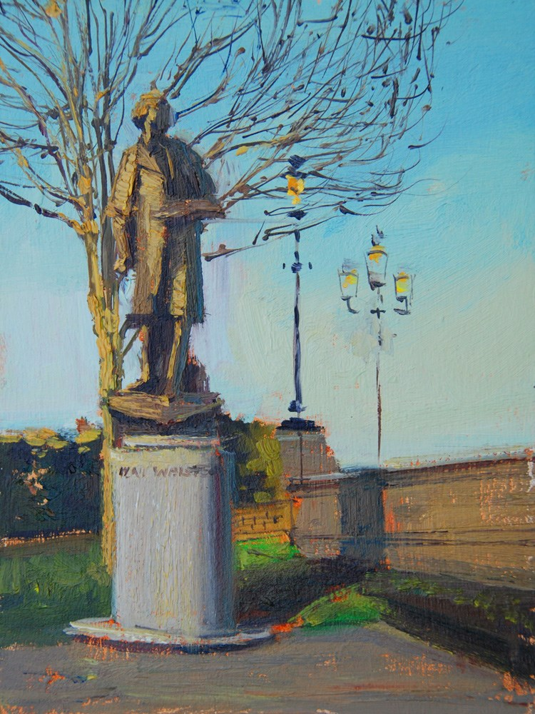 """Evening Light, Whistler Statue, Chelsea Embankment"" original fine art by Adebanji Alade"