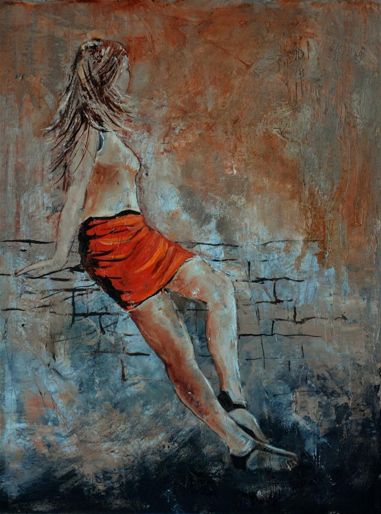 """""""Young girl in the wind"""" original fine art by Pol Ledent"""