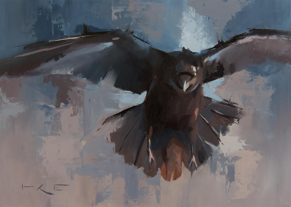 """Flying Raven"" original fine art by Thorgrimur Andri Einarsson"