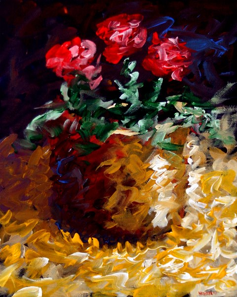 """Mark Webster Artist - Abstract Electric Roses Acrylic Still Life Painting"" original fine art by Mark Webster"