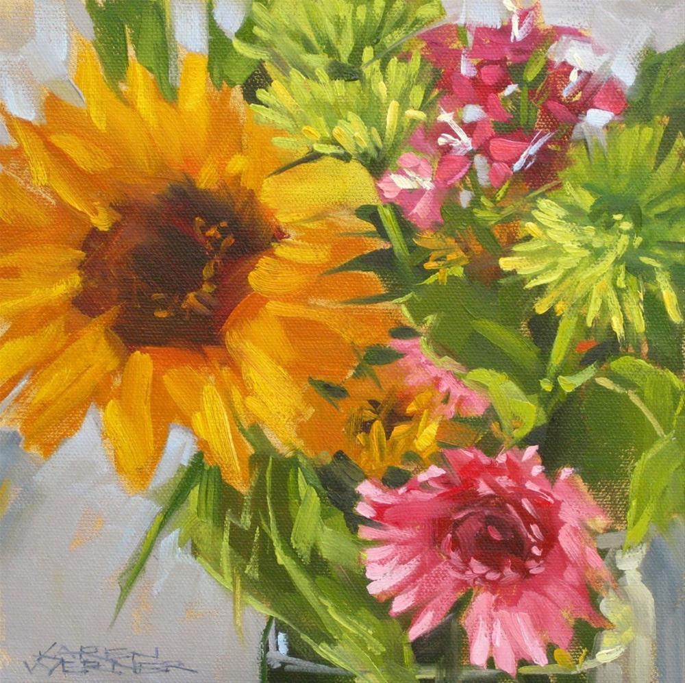 """""""Sunflower Sings"""" original fine art by Karen Werner"""