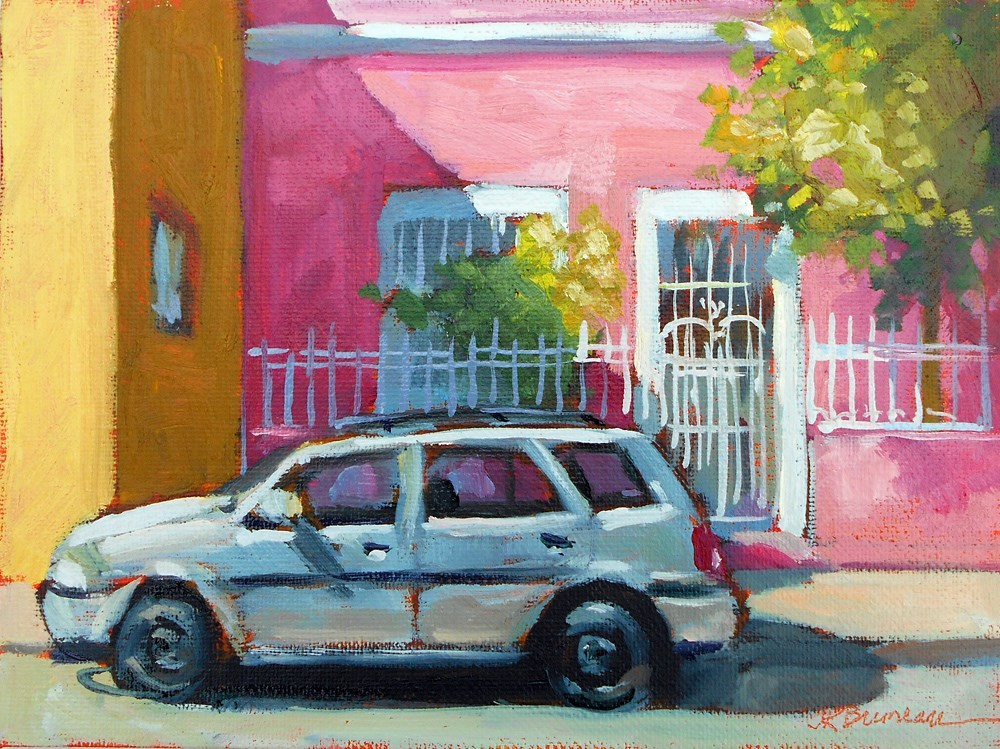 """Pink House"" original fine art by Jeanne Bruneau"