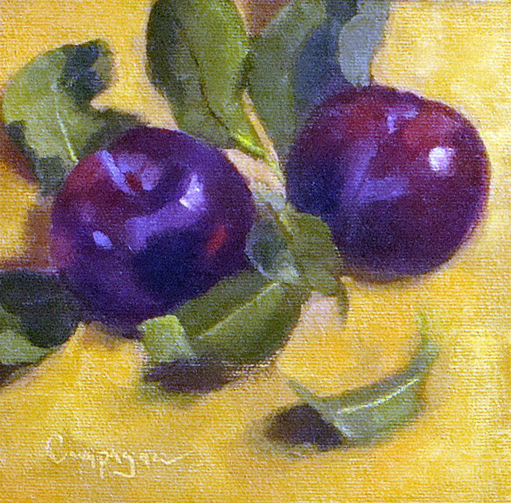 """Two Blue Plums"" original fine art by Roseanne Campagna"