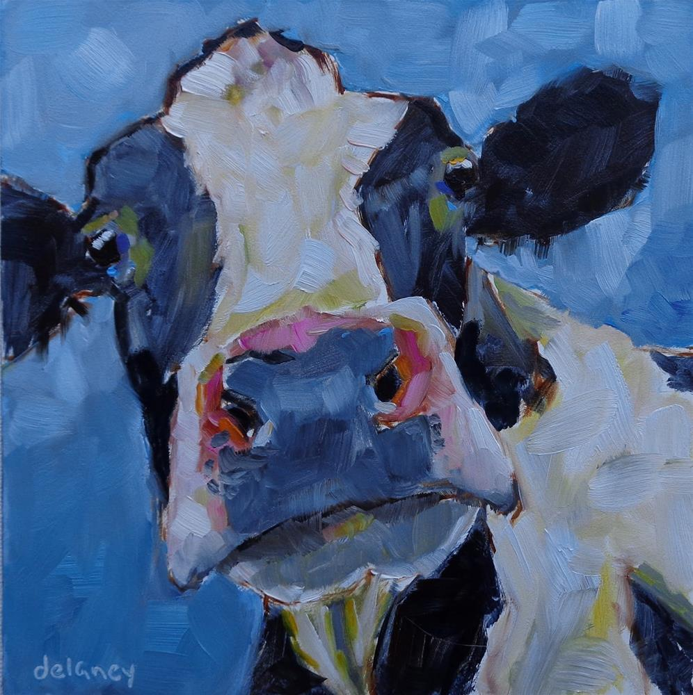 """Cow 138 I BELIEVE IN YOU"" original fine art by Jean Delaney"