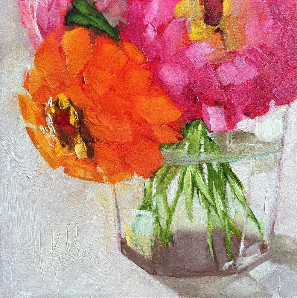 """Zinnias 1"" original fine art by Hallie Kohn"