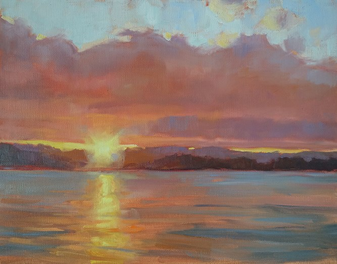 """Sunset over the Bay"" original fine art by Deborah Newman"