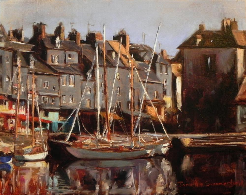 """Honfleur Boats III"" original fine art by Jonelle Summerfield"