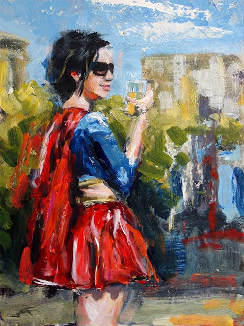 """Even Supergirl Likes a Cold One as Much as the Next Guy"" original fine art by J. Farnsworth"