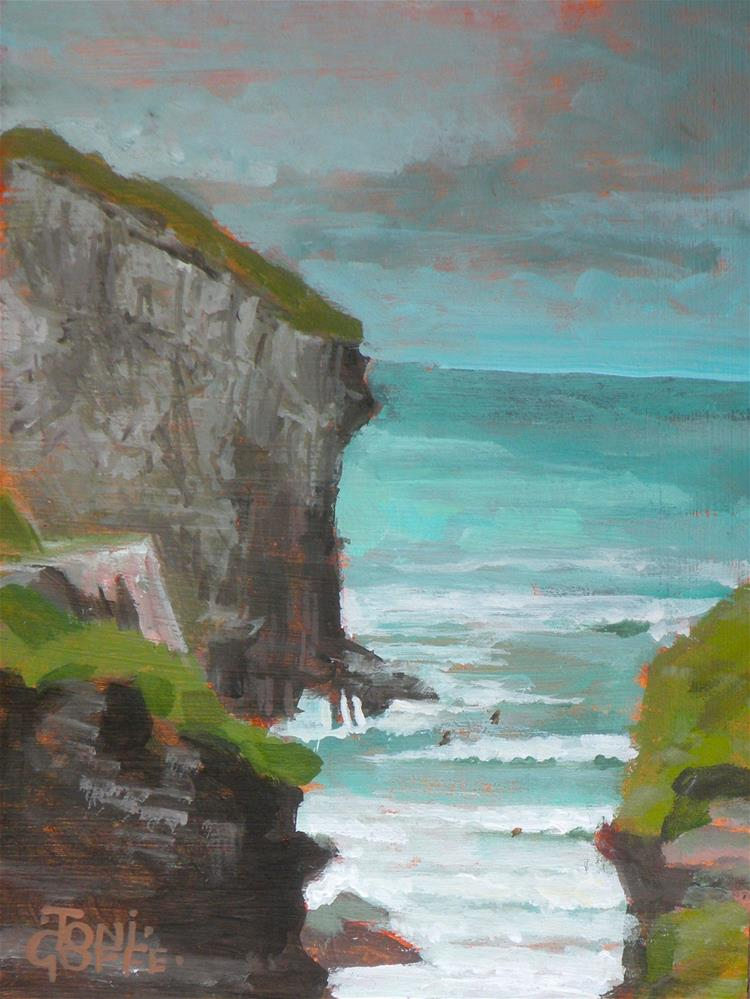 """Trebarwith Strand"" original fine art by Toni Goffe"