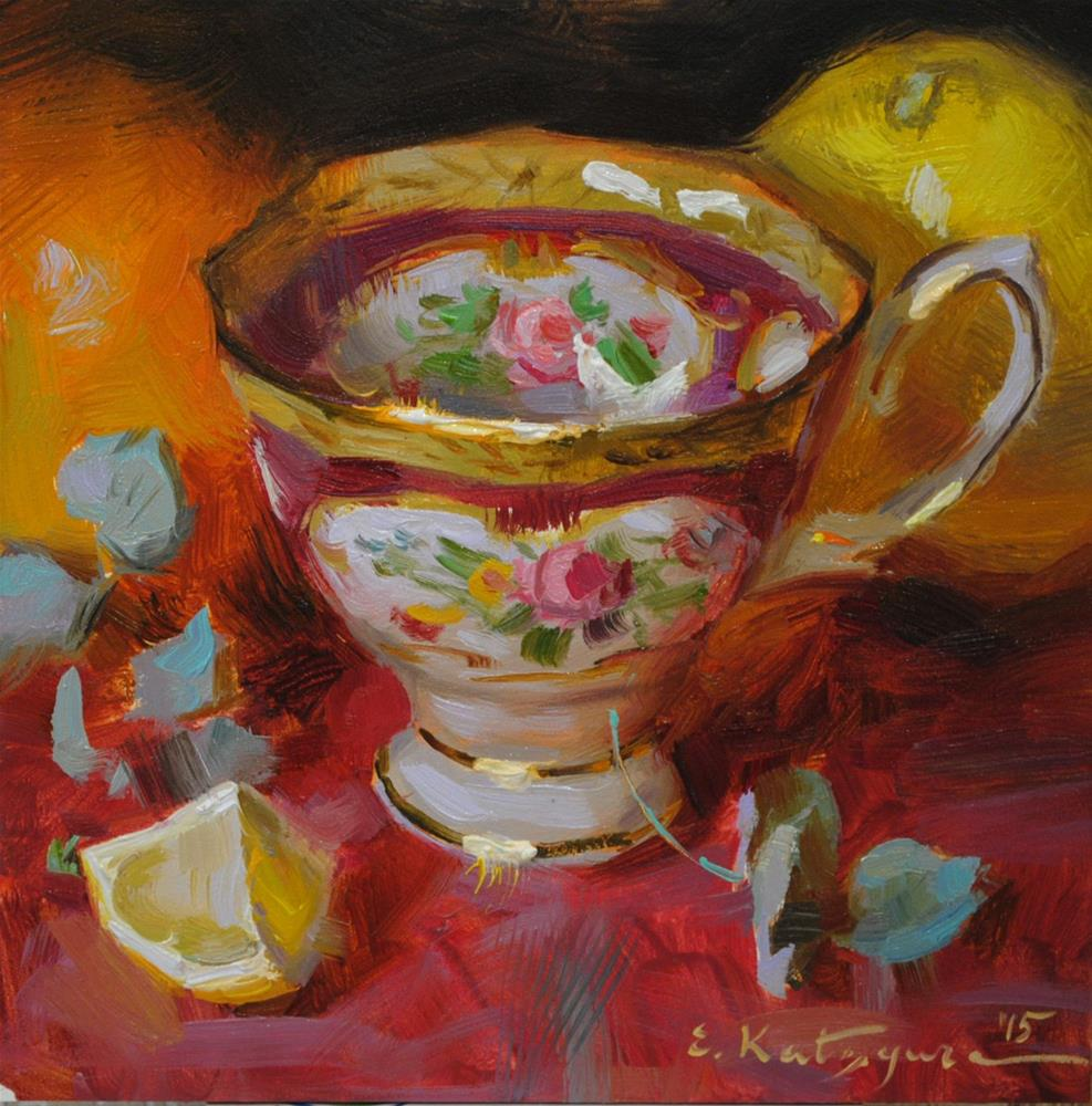 """Red Teacup"" original fine art by Elena Katsyura"
