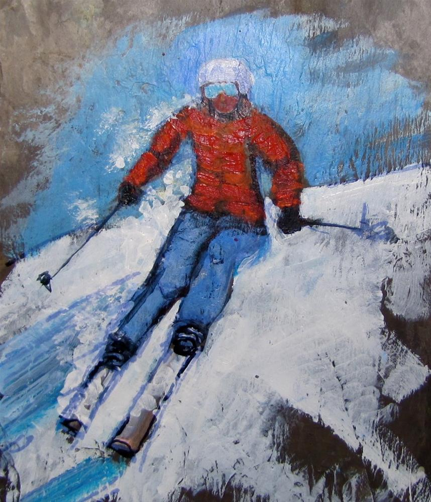 """Day 24 slate - Skier II"" original fine art by Christine Holzschuh"