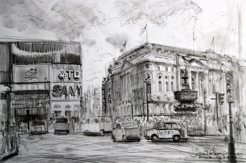 """Sketch of Piccadilly Circus"" original fine art by Adebanji Alade"