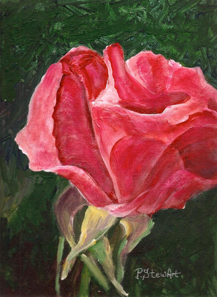 """9x12 Single Rose Bud Acrylic Floral Flower Original Painting SFA Penny StewArt"" original fine art by Penny Lee StewArt"