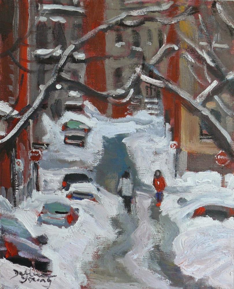 """""""782 Mcgill Ghetto, Montreal Winter Scene"""" original fine art by Darlene Young"""