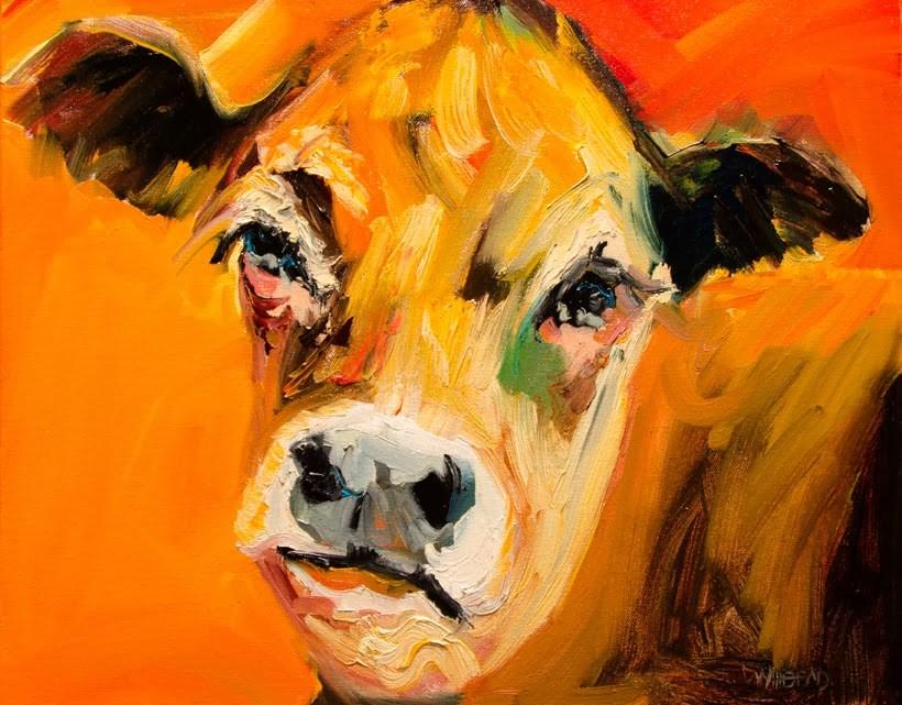 """ARTOUTWEST COW TAILS ANIMAL ART FARM BY Diane Whitehead"" original fine art by Diane Whitehead"
