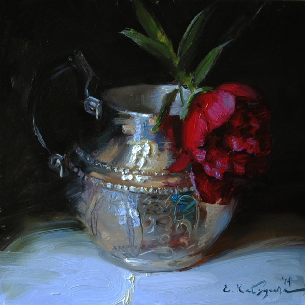 """Peony in Silver"" original fine art by Elena Katsyura"