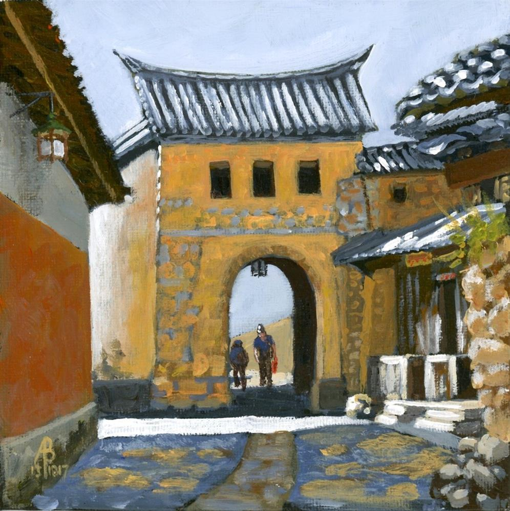 """Village gate near Dali, Yunnan province, China"" original fine art by Alix Baker"
