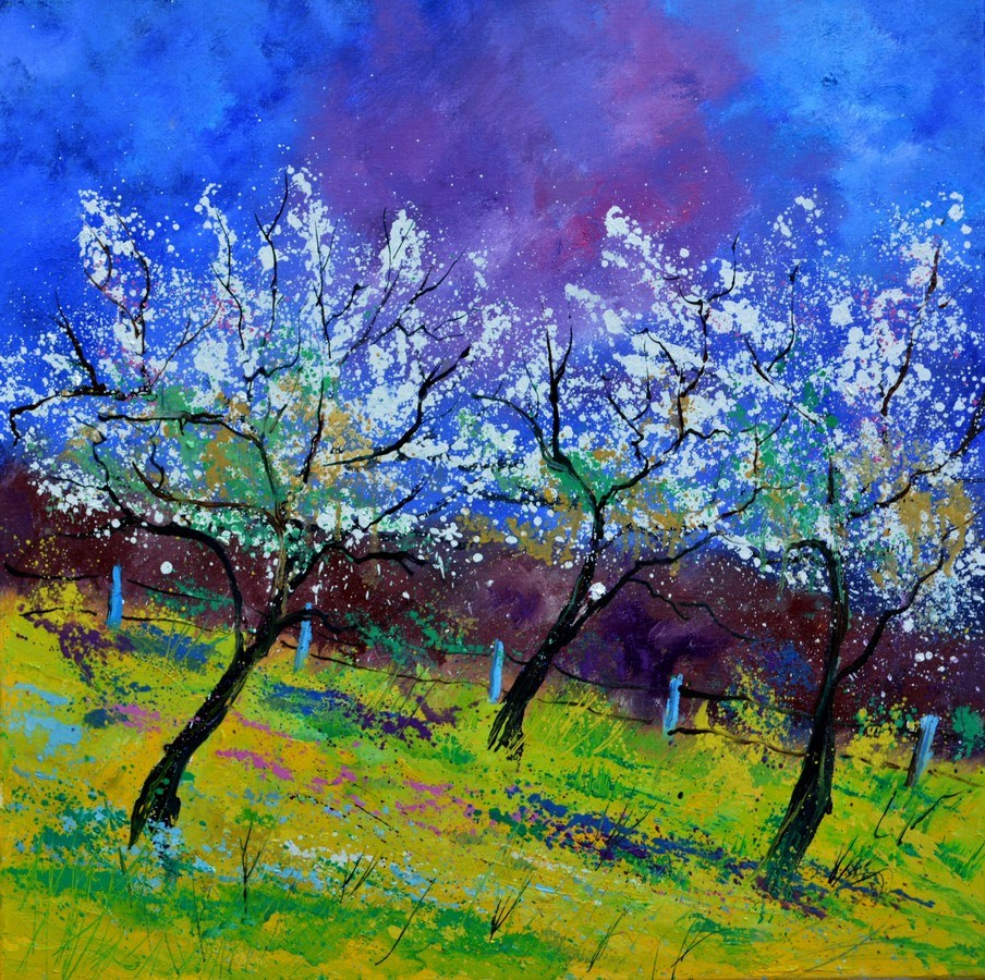 """Spring appletrees"" original fine art by Pol Ledent"