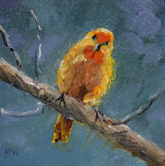 """FINCH BIRD OIL PAINTING Diane Whitehead Animal art"" original fine art by Diane Whitehead"