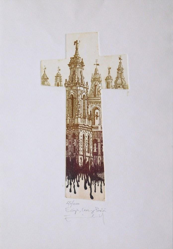 """""""Écija, cruz y pasión"""" original fine art by Emilio López"""