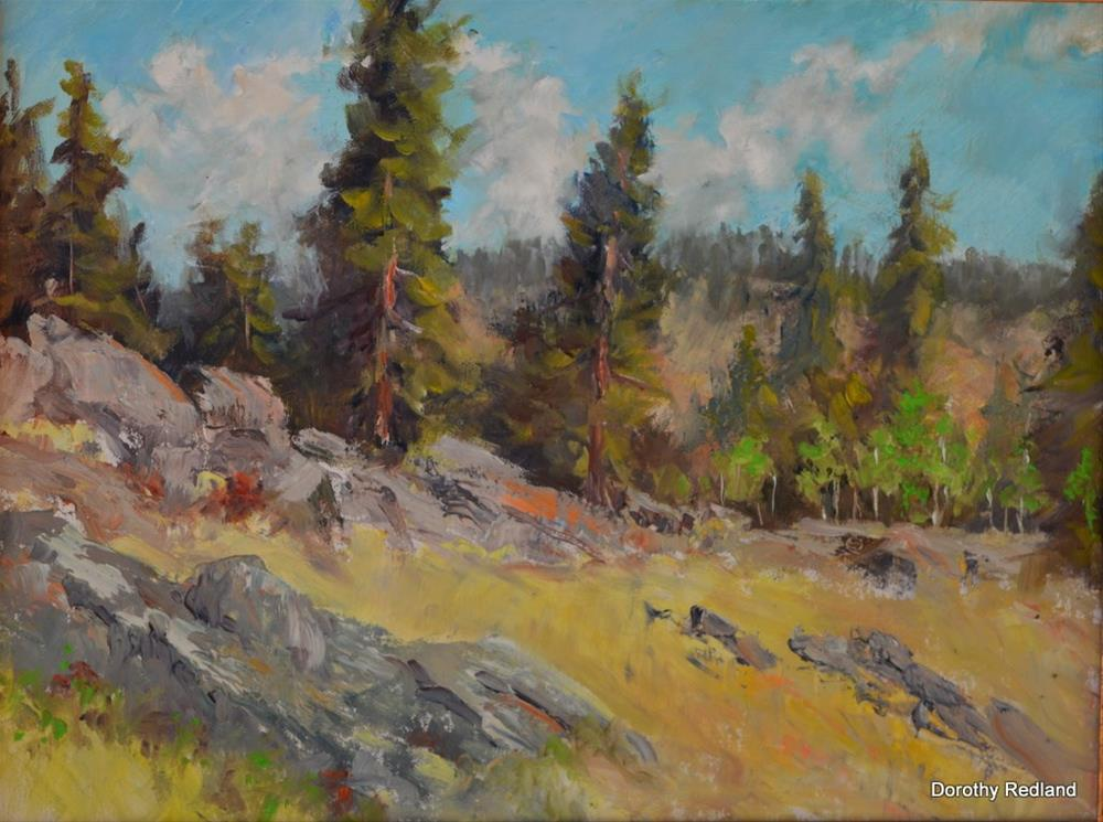 """Rocks and trees in heaven"" original fine art by Dorothy Redland"