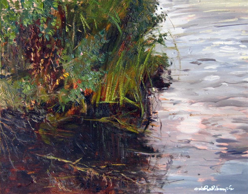 """Murky Pond Reflections"" original fine art by Adebanji Alade"