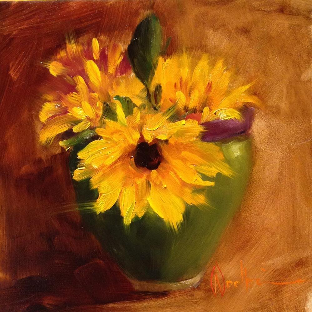 """Sunflowers in French Vase"" original fine art by Dorothy Woolbright"