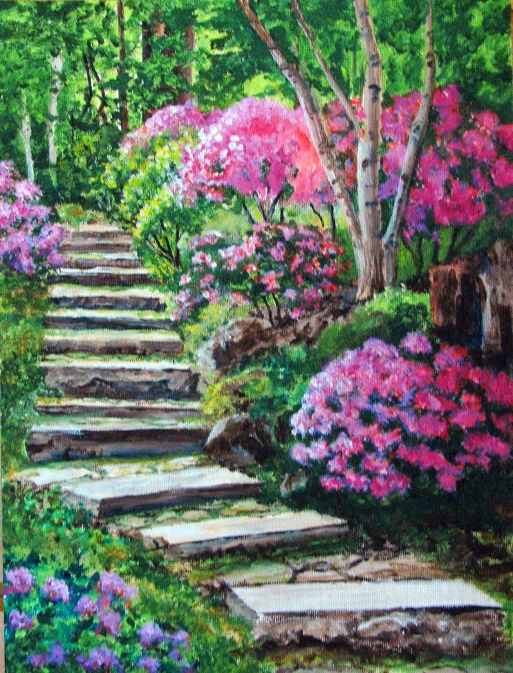 """Stone Stairway"" original fine art by Nan Johnson"