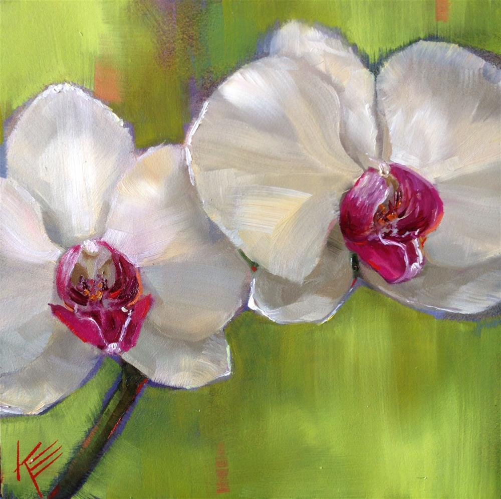 """White on Lime"" original fine art by Krista Eaton"
