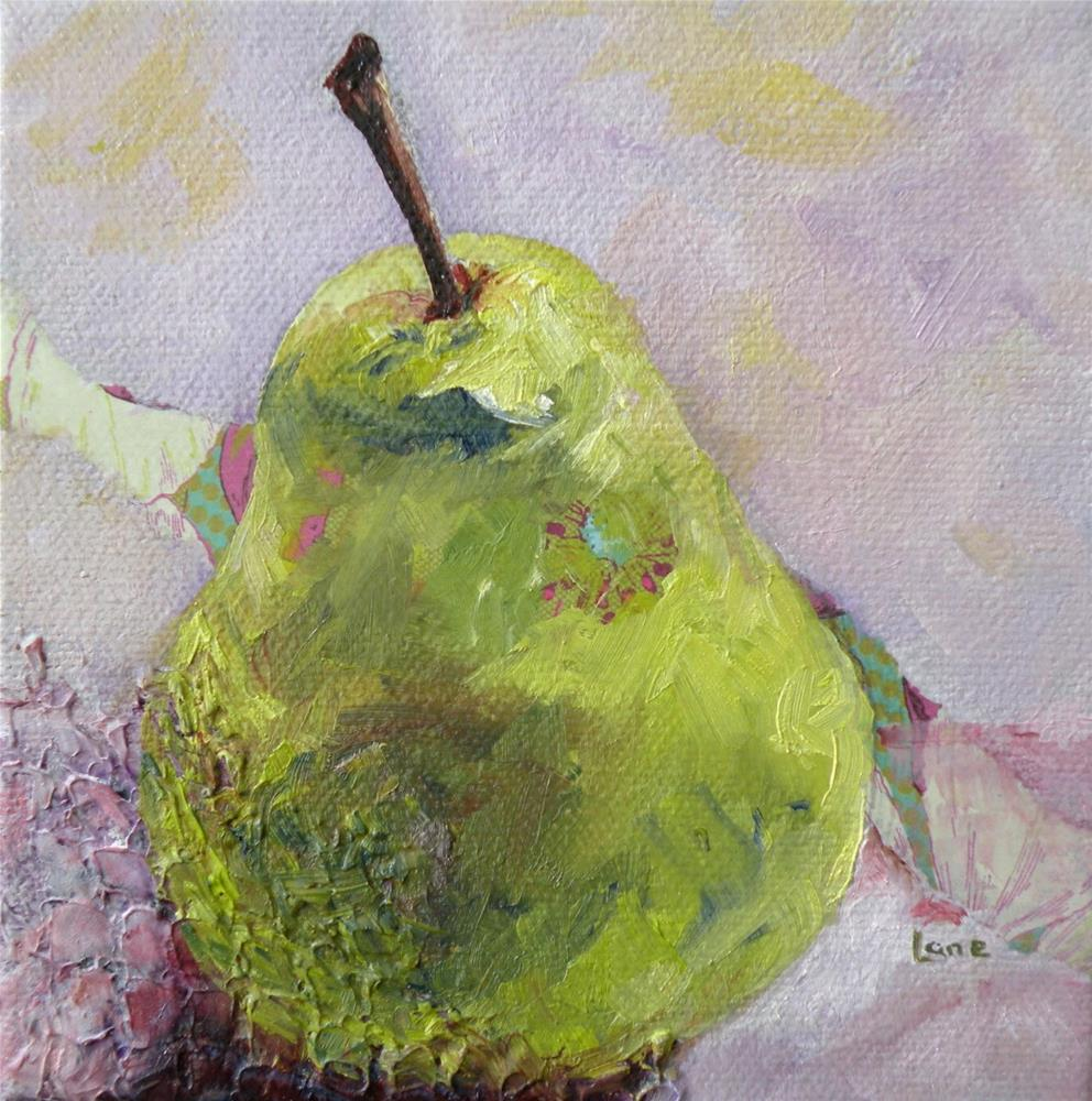 """TEXTURED PEAR ORIGINAL MIXED MEDIA STILL LIFE ON TEXTURED CANVAS © SAUNDRA LANE GALLOWAY"" original fine art by Saundra Lane Galloway"
