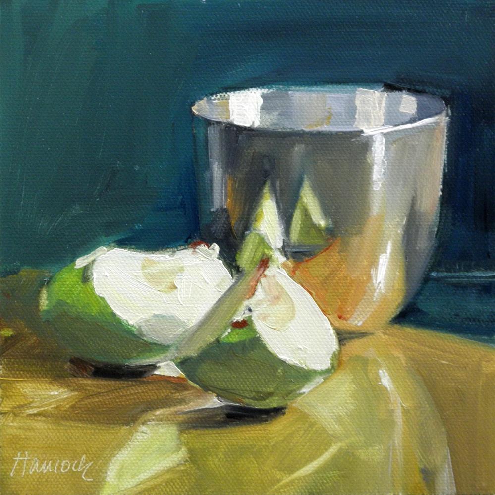 """Apple Slices Pewter Bowl Green Background"" original fine art by Gretchen Hancock"