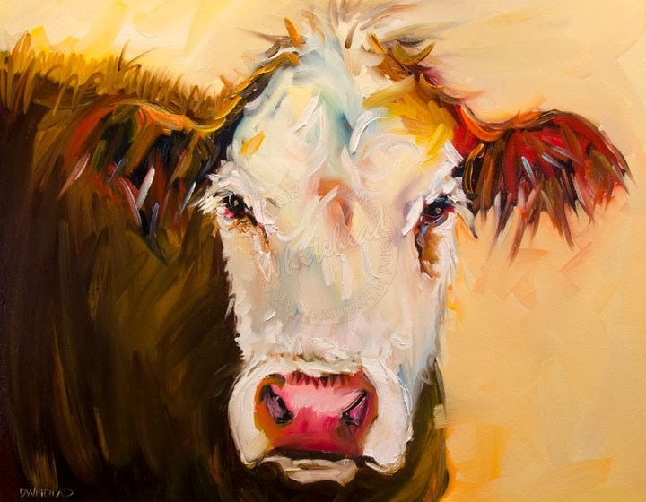 """ARTOUTWEST COW CATTLE ANIMAL ART OIL PAINTING Diane Whitehead"" original fine art by Diane Whitehead"