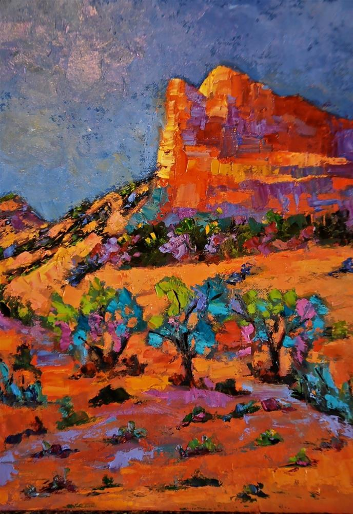 """Lone Desert Cliffs"" original fine art by Liz Zornes"