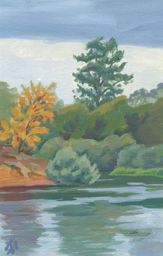 """Light Rain on the Willamette"" original fine art by Mark Allison"