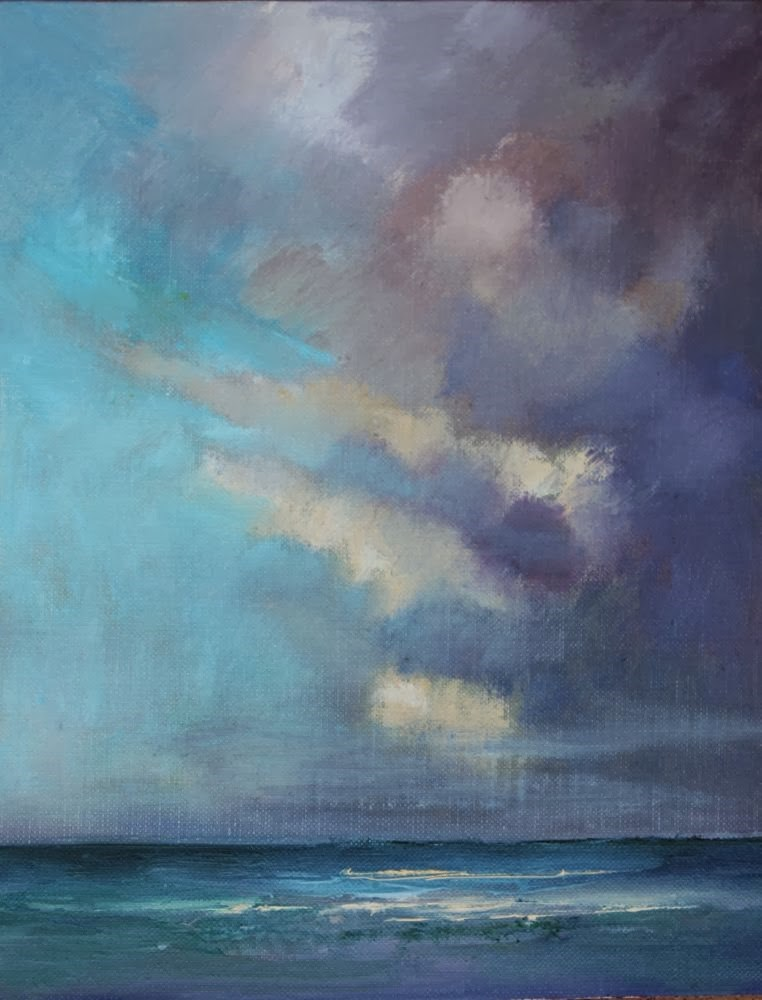 """Clouds over the Atlantic, Beach and Ocean Paintings by Arizona Artist Amy Whitehouse"" original fine art by Amy Whitehouse"