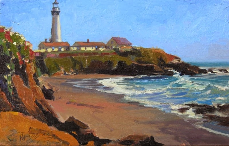 """Pigeon Point  California, coastal, plein air painting by Robin Weiss"" original fine art by Robin Weiss"