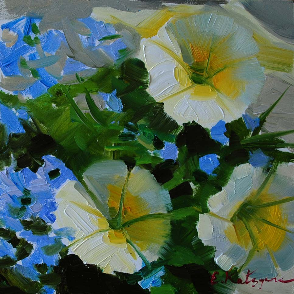 """Petunias"" original fine art by Elena Katsyura"