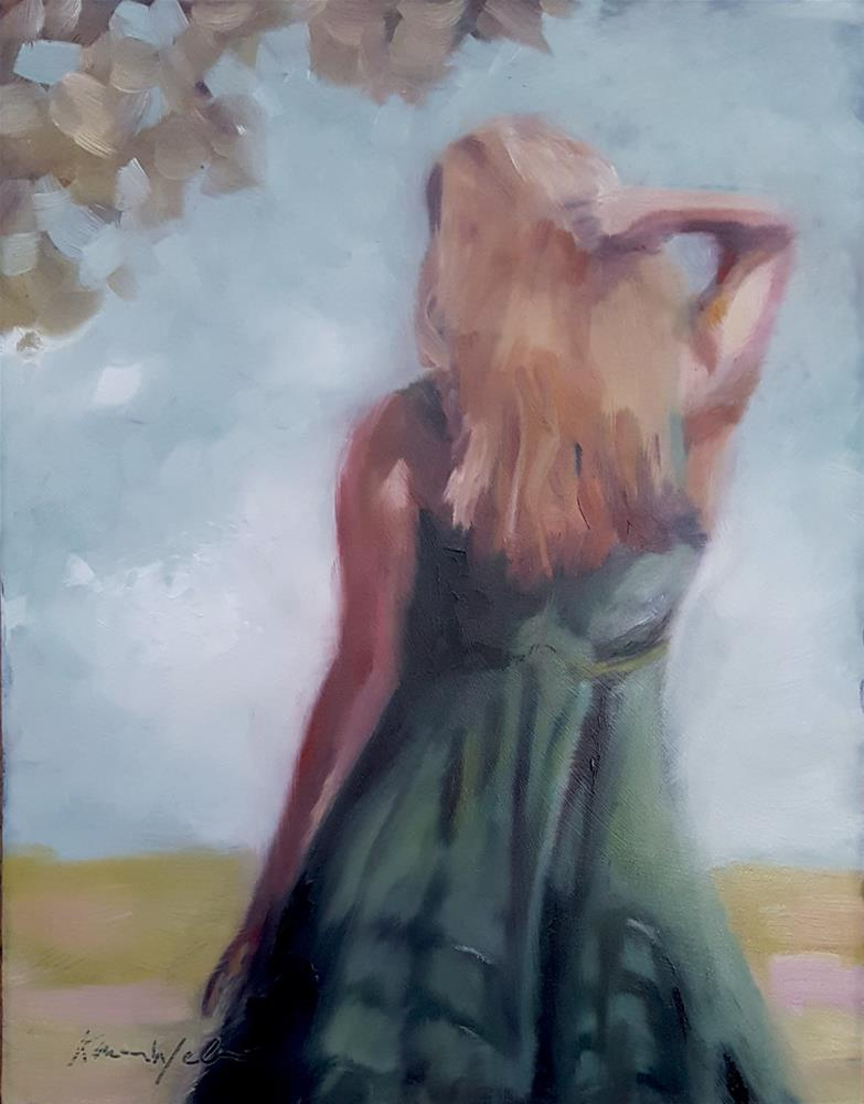 """Watching her back"" original fine art by Karen Weber"
