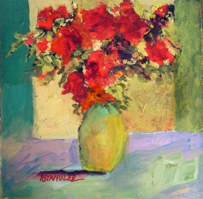 """Red Floral 11018 SOLD"" original fine art by Nancy Standlee"