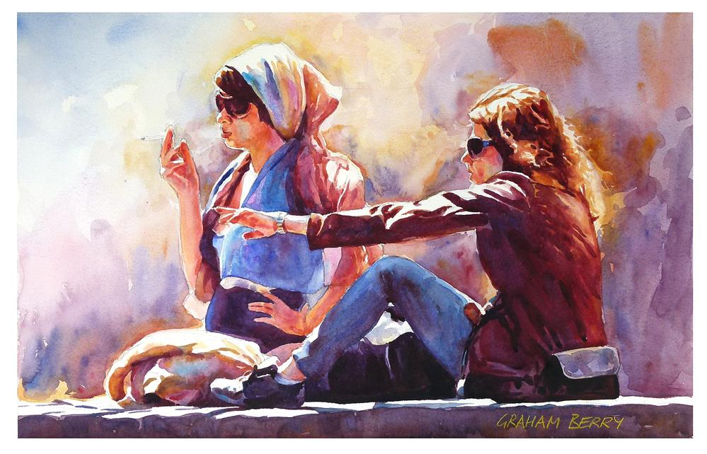 """Smokin' in the sun."" original fine art by Graham Berry"
