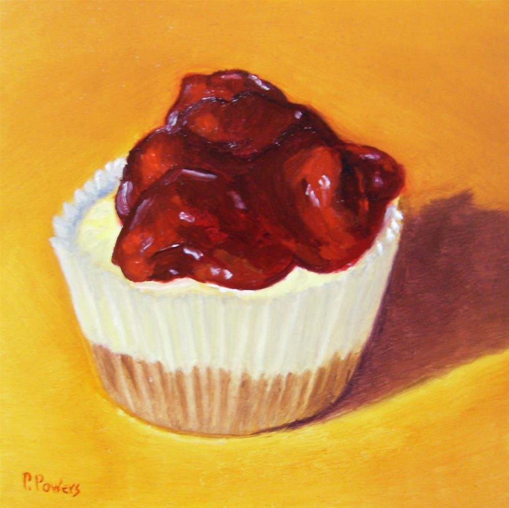 """Mini Cherry Cheesecake"" original fine art by Patricia J. Powers"