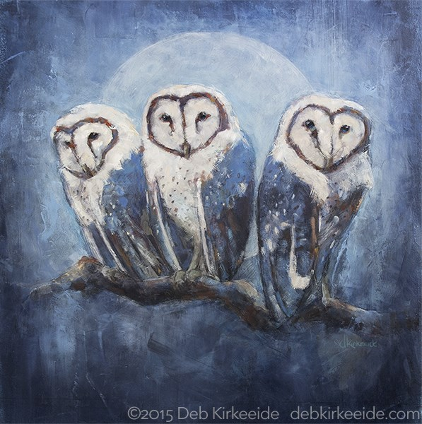 """Night Owls"" original fine art by Deb Kirkeeide"