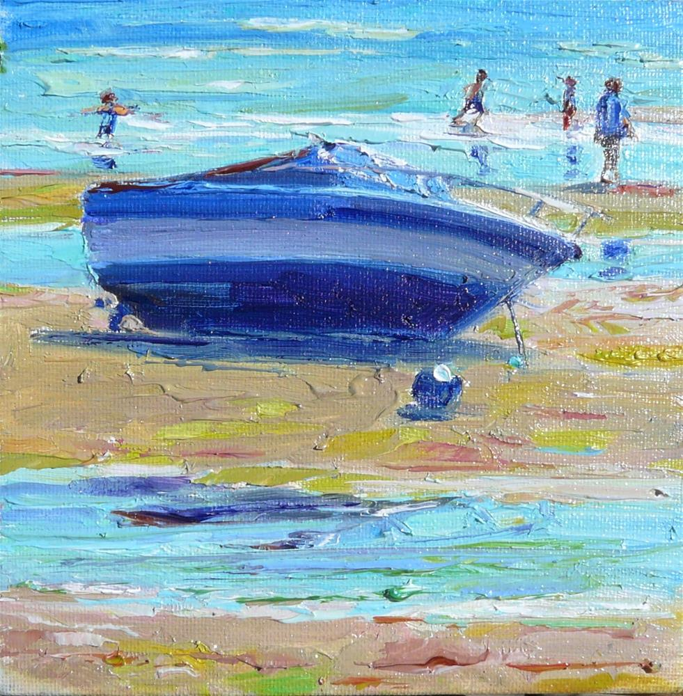 """Low Tide in the Bay,sea scape,oil on canvas,6x6,price$200"" original fine art by Joy Olney"