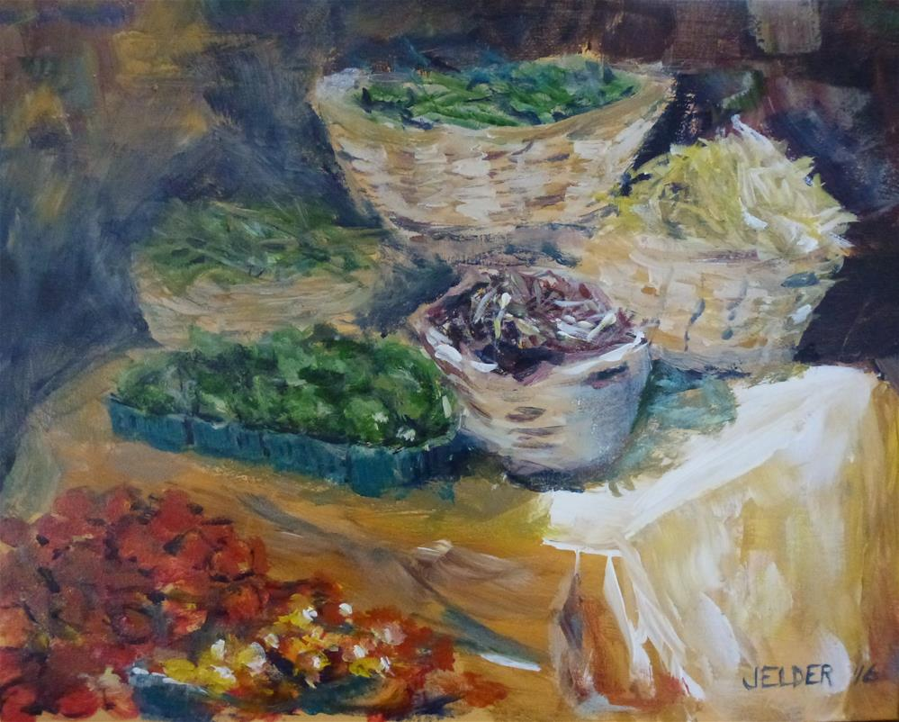 """Farmers' Market"" original fine art by Judith Elder"